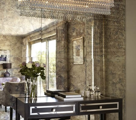 Antique mirror glass splashback