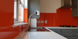 Painted Orange Glass Splashback