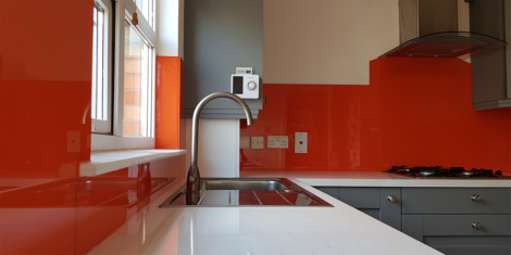 Painted Orange Glass Splashback